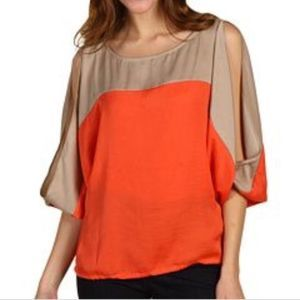 BCBGMaxazria SUZIE Slit-Sleeve Color Block Blouse